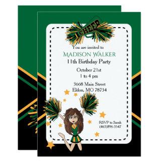 Cheerleader Birthday Party in Dark Green & Gold Card