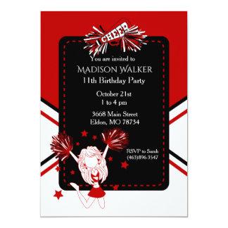 Cheerleader Birthday Party in Dark Red Card