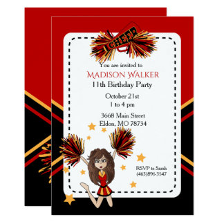 Cheerleader Birthday Party in Dark Red & Gold Card