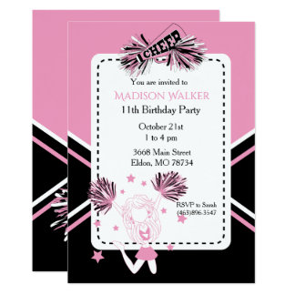 Cheerleader Birthday Party in Pink, Black & White Card