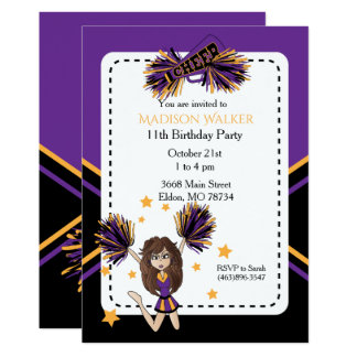 Cheerleader Birthday Party in Purple & Gold Card