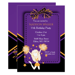 Cheerleader Birthday Party in Purple & Gold Invitation