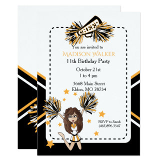 Cheerleader Birthday Party in White, Black & Gold Card