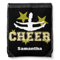 Cheerleader black and gold cinch sack backpack