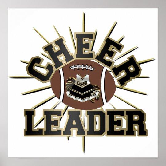 Cheerleader Black and Gold Football Poster