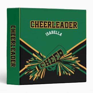 """Cheerleader  Black, Gold & Dark Green 1.5"""" Binder"""