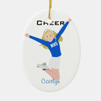 Cheerleader Blonde Blue & White Ceramic Ornament
