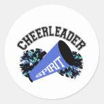 Cheerleader Blue Classic Round Sticker