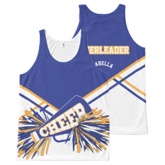 Cheerleader - Blue, Gold & White All-Over-Print Tank Top