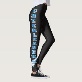 Cheerleader Blue Typography Letters Leggings