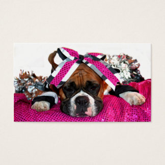 Cheerleader boxer dog business cards