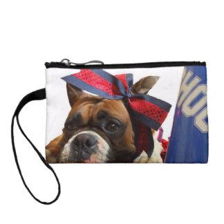 Cheerleader boxer dog coin purse