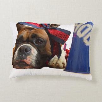 Cheerleader boxer dog decorative pillow