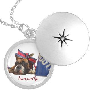Cheerleader boxer dog personalized locket