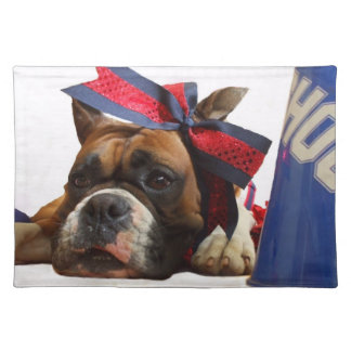 Cheerleader boxer dog placemat