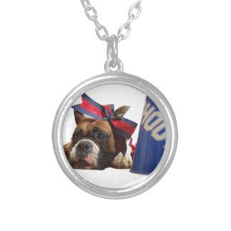 Cheerleader boxer dog round pendant necklace