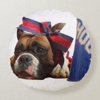 Cheerleader boxer dog round pillow