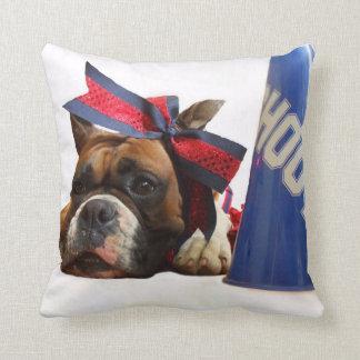 Cheerleader boxer dog throw pillow