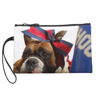 Cheerleader boxer dog wristlet