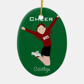 Cheerleader Brunette Red & Black Ceramic Ornament