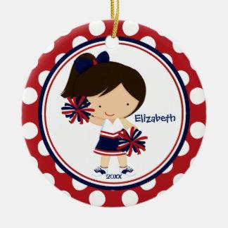 Cheerleader Cheer Christmas Ornament Blue Red