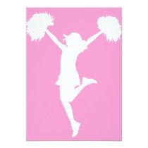 cheer, cheering, cheerleader, teams, al rio, customizable, outline, art, cheerleading, Invitation with custom graphic design