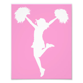 Cheerleader Cheering with Customizable Background Photo Print