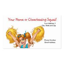 cheer, cheerleading, cheerleader, pom, poms, al rio, Business Card with custom graphic design