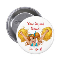 cheer, cheerleading, cheerleader, pom, poms, al rio, Button with custom graphic design
