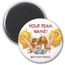 cheerleaders, cheerleading, cheer, pom poms, al rio, Ímã com design gráfico personalizado