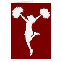 cheer, cheerleading, cheerleader, outline, art, rio, broncos, football, Card with custom graphic design