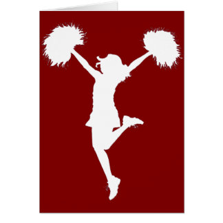 Cheerleader Cheerleading Outline Art by Al Rio Card