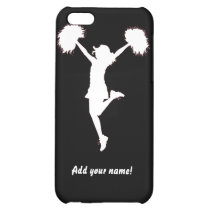 cheer, cheerleader, cheerleading, pom-poms, girl, outline, football, illustration, customizable, [[missing key: type_photousa_iphonecas]] com design gráfico personalizado