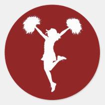 cheer, cheerleading, cheerleader, outline, art, rio, broncos, football, Adesivo com design gráfico personalizado