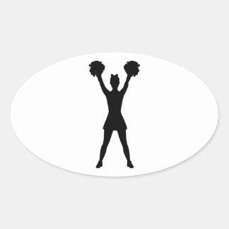 Cheerleader cheerleading oval sticker
