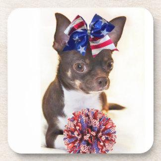 Cheerleader Chihuahua dog Drink Coaster