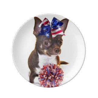 Cheerleader Chihuahua Porcelain Plates