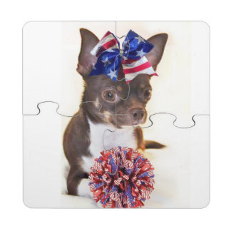 Cheerleader Chihuahua Puzzle Coaster