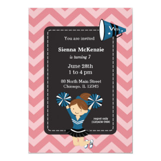 Cheerleader, choose your own background color 5x7 paper invitation card