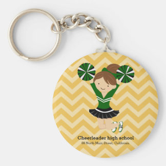 Cheerleader, choose your own background color basic round button keychain