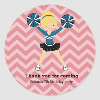 Cheerleader, choose your own background color classic round sticker