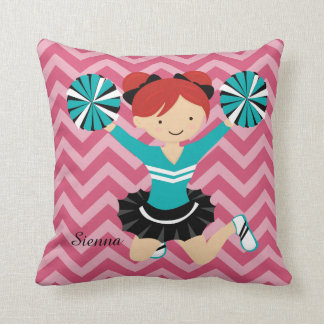 Cheerleader, choose your own background color pillow