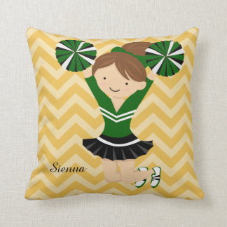 Cheerleader, choose your own background color throw pillow