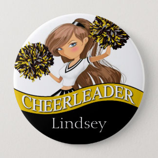Cheerleader choose your school colors black gold pinback button