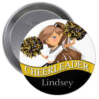 Cheerleader choose your school colors black gold pinback button