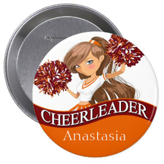 Cheerleader choose your school colors burgundy button