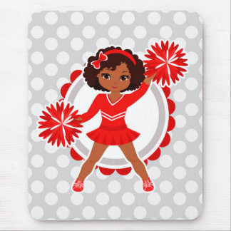 Cheerleader - Cute Red African American Cheer Mouse Pad