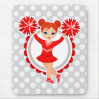 Cheerleader - Cute Red Redhead Cheer Mouse Pad