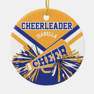 Cheerleader - Dark Blue, Gold and White 2 Ceramic Ornament