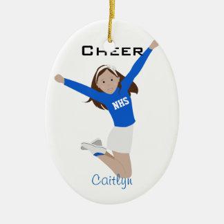 Cheerleader Dark Brunette Blue & White Ceramic Ornament